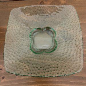 Pale Green Glass Bowl~Pebble Design~Flower Center